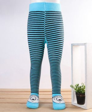 Mustang Stripe Footed Tights Bear Design - Blue Black