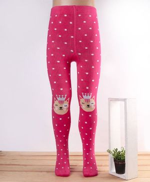 Mustang Footed Tights Kitty Design - Fuchsia