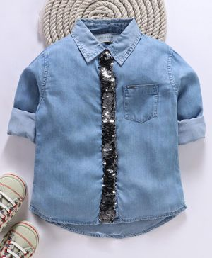 Gini & Jony Full Sleeves Denim Shirt With Sequin Mock Tie - Blue