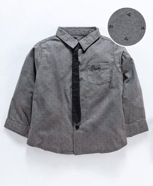 GJ Baby Full Sleeves Printed Shirt With Detachable Tie - Grey