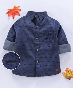 GJ Baby Full Sleeves Shirt Moustache Print - Navy Blue