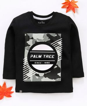 Palm Tree Full Sleeves Printed Shirt - Black