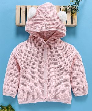 Fox Baby Full Sleeves Hooded Sweater - Pink