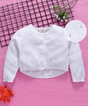 Fox Baby Full Sleeves Front open Sweater - White