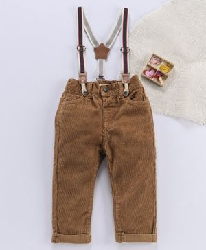 Fox Baby Jeans With Suspenders - Brown
