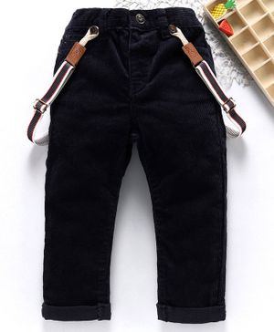 Fox Baby Full Length Corduroy Pants With Suspenders - Navy Blue