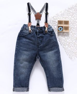 Fox Baby Jeans With Suspenders - Blue