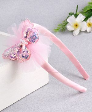 Babyhug Hair Band Sequin Butterfly Applique - Pink