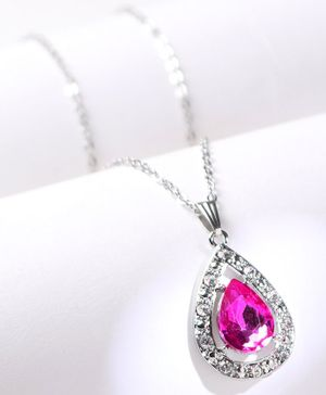 Babyhug Chain Necklace With Gemstones - Pink