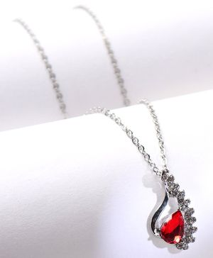 Babyhug Chain Necklace With Gemstone - Red