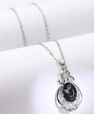 Babyhug Chain Necklace With Black Gemstone - Silver
