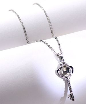 Babyhug key Design Chain Necklace With Stones - Silver