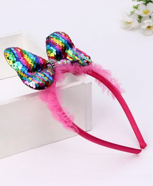 Babyhug Hair Band Sequin Bow Applique - Pink