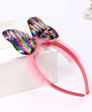 Babyhug Hair Band Sequin Bow Applique - Peach