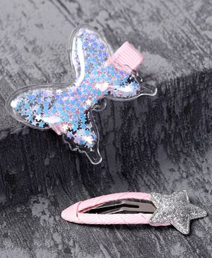 Babyhug Hair Clips With Butterfly & Star Applique Pack of 2 - Blue Silver