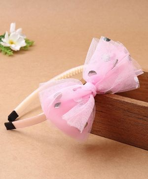 Babyhug Hair Band Bow Applique - Pink