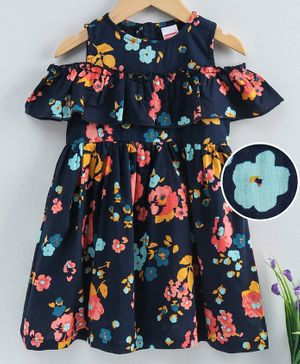 Babyhug Cold Shoulder Frock Floral Print - Blue