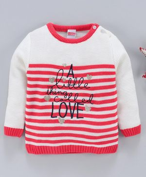 Babyhug Full Sleeves Striped Sweater Text Embroidery - White Coral