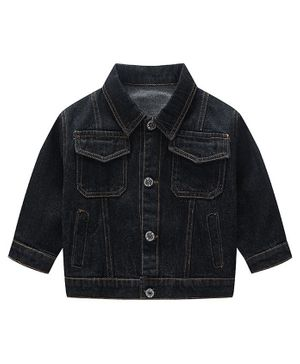 Awabox Full Sleeves Solid Denim Jacket - Black