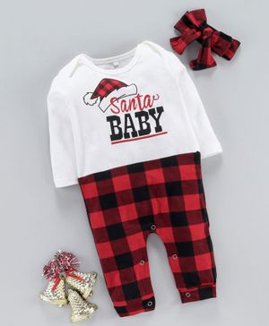 Kookie Kids Full Sleeves Checks Romper With Headband Santa Baby Print - White Red