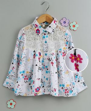 Hugsntugs Floral Print Full Sleeves Lacey Yoke Detailed Shirt - White