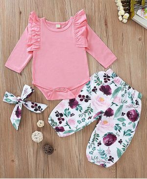 Kookie Kids Full Sleeves Onesie with Leggings and Hairband Floral Print - Pink White