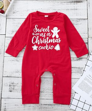 Kookie Kids Full Sleeves Romper Text Print - Red