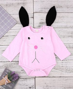 Kookie Kids Full Sleeves Romper Bunny Face Print - Pink