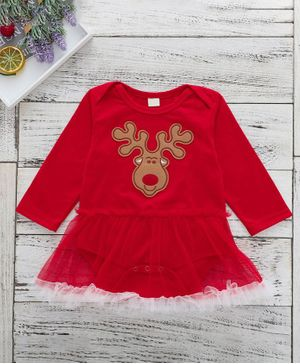 Kookie Kids Full Sleeves Frock Style Onesies Reindeer Patch - Red