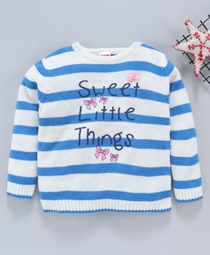 Babyhug Full Sleeves Striped Sweater Sweet Little Things Print - White Blue