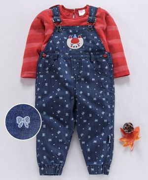 U R Cute Full Sleeves Tee With Bow Print Dungaree - Red & Blue