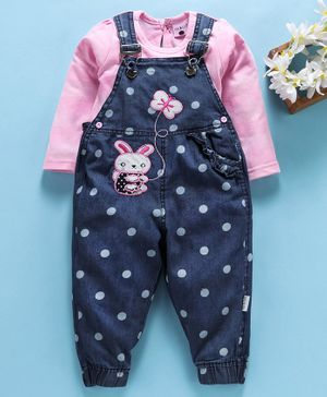 U R Cute Full Sleeves Tee With Polka Dot Print Dungaree - Pink & Navy Blue