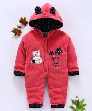 U R Cute Bear Patch Full Sleeves Romper - Red