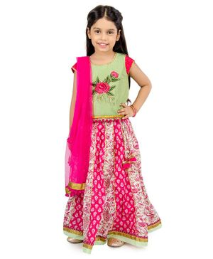 Sorbet Flower Embroidered Short Sleeves Choli With Lehenga & Dupatta - Green