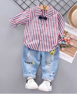 Kookie Kids Full Sleeves Striped Shirt With Jeans & Bow - Pink Blue