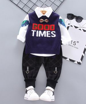 Kookie Kids Full Sleeves Shirt With Jeans & Sweater Vest Good Times Patch -  Navy Blue Black