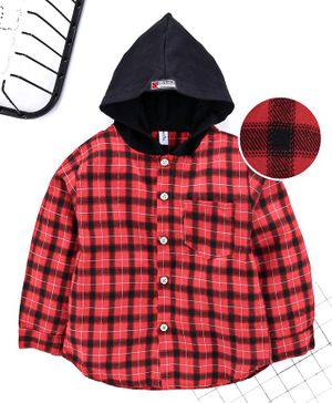 Leeker Kids Full Sleeves Hooded Checked Shirt - Red