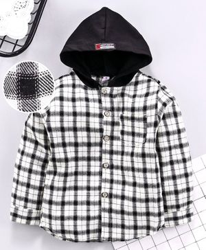 Leeker Kids Full Sleeves Hooded Checked Shirt - White