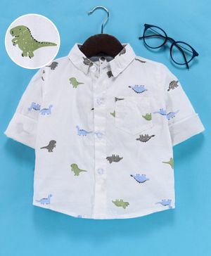 Leeker Kids Full Sleeves Shirt Dinosaur Print - White