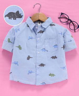 Leeker Kids Full Sleeves Shirt Dinosaur Print - Blue