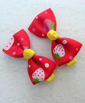 Angel Closet Printed Bow Hair Clip - Red