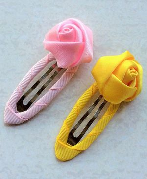 Angel Closet Rose Snap Clip - Yellow & Pink