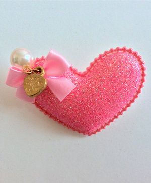 Angel Closet Shimmer Finish Heart Hair Clip - Peach