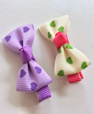 Angel Closet Heart Print Bow Hair Clips - Purple