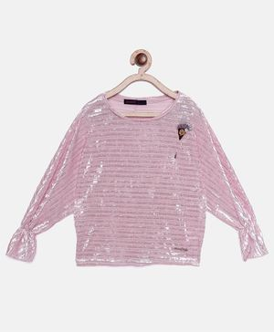 Ziama Full Sleeves Shimmer Finish Top - Pink
