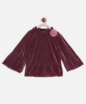 Ziama Full Bell Sleeves Shimmer Finish Top - Maroon