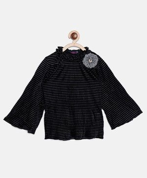 Ziama Full Bell Sleeves Shimmer Finish Top - Black