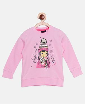 Ziama Girl Printed Full Sleeves Top - Pink