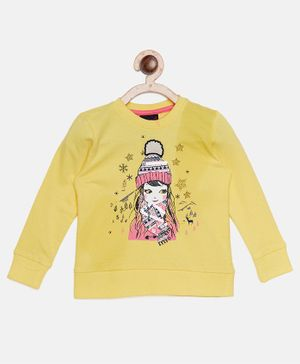 Ziama Girl Printed Full Sleeves Top - Yellow