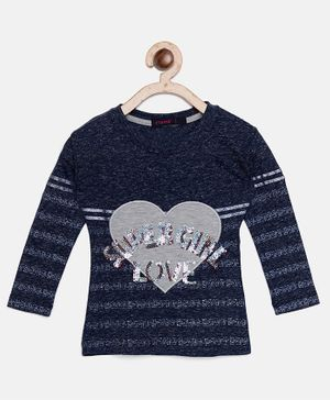 Ziama Full Sleeves Super Girl Love Print Top - Navy Blue